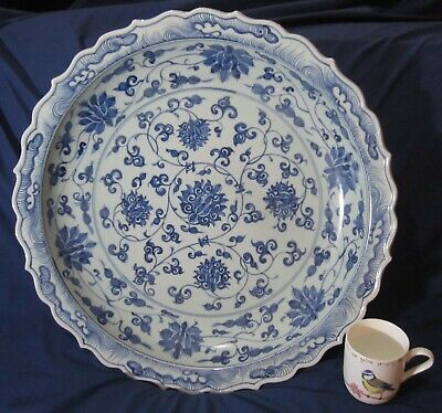 Huge Heavy Blue & White Painted Porcelain Dish Charger. Oriental / Chinese? • 10.49£