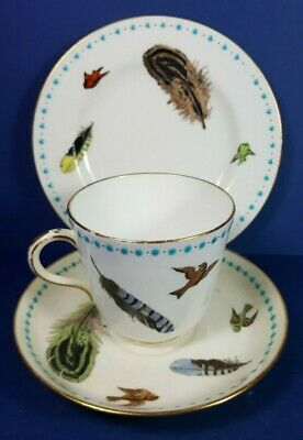 Vintage Mintons China Bird & Feather Pattern Trio - Cup Saucer Plate • 26.50£