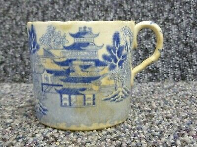 Antique Chinese Blue & White Pottery Small Mug / Cup Chinese Export Piece  • 10£