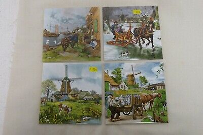 4 X Hand Decorated Decorative Tiles Ter Steege Bv Holland Scenes 15cm X 15cm D35 • 5£