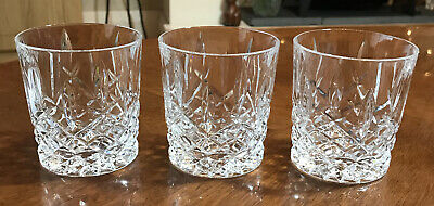3 Cut Glass Crystal Whiskey Tumblers In Lovely Condition 8.5cm Tall • 15£