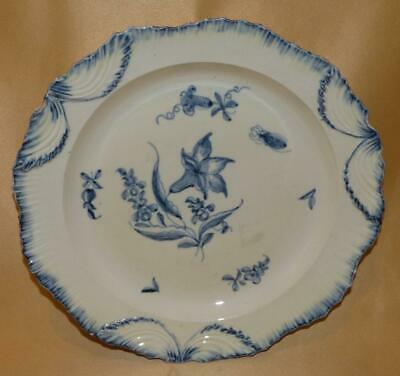 English Creamware Shell Edge Blue Flowers & Insect Dinner Plate 1780-1800 • 30£