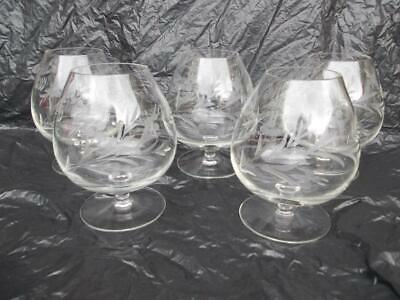 1673 / Set Of 5 Vintage Floral Engraved Hand Blown Brandy Glasses / Balloons • 24.99£