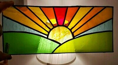 Sunset Multi Coloured Stained Landscape Stained Glass Panel 30 X 12 Cm  • 25.95£