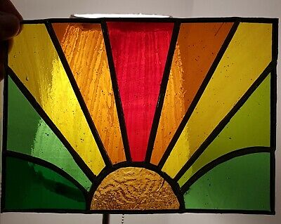 Sunset Multi Coloured Stained Glass Suncatcher Panel Stained Glass Panel • 19.95£