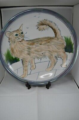 Highland Stoneware Large Hand Painted 35 Cm Bowl - Standing Cat • 125£