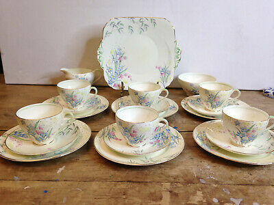 21 Pc Foley Teaset Handpainted Floral V1915 E Brain Flowers And Raindrops  • 35£