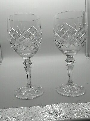Pair Of Galway Clare Pattern Irish 24% Lead Crystal Wine Glasses Tall 7.8 In • 19£