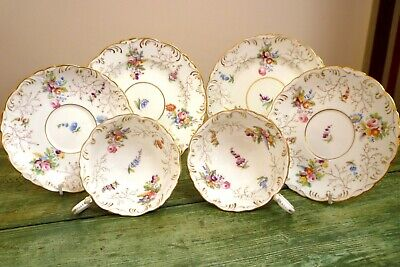 Antique Coalport Porcelain Trios X 2 Cup Saucer Plate Patt. No 2708 Floral Spray • 26£