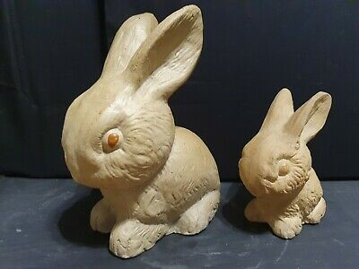 Vintage Pottery Rabbits Slyvac Style X 2 Signed 22cm & 14cm Tall • 12£