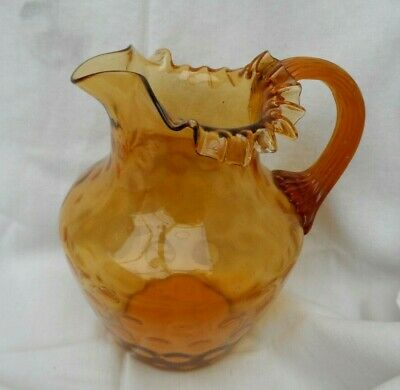 Antique Beautiful Amberina Hand Blown Glass Pitcher/vase Reeded Handle Ruffled   • 24.99£