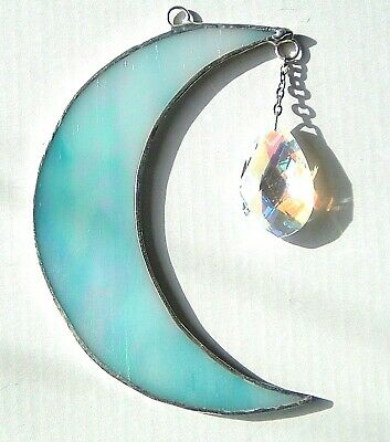 Iridescent Turquoise Moon Crystal Drop Stained Glass Suncatcher Window Hanging • 14.99£
