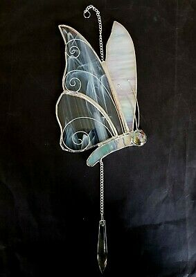 Stained Glass White Butterfly Crystal Suncatcher Rainbow Maker Window Hanging • 24.95£
