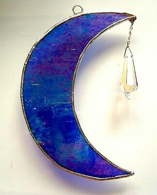 Blue Moon Crystal Icicle Stained Glass Suncatcher Wall Window Hanging Home Decor • 14.99£
