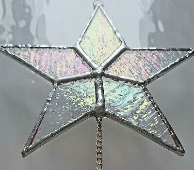 Iridescent Star Crystal Stained Glass Window Hanging Suncatcher Rainbow Maker  • 14.99£