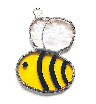 Buzzy Bumble Bee Stained Glass Suncatcher Hanging Love Bug Honey Garden Flower • 8.99£