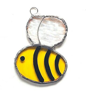 Buzzy Bumble Bee Stained Glass Suncatcher Love Bug Honey Garden Flower Insect • 8.99£