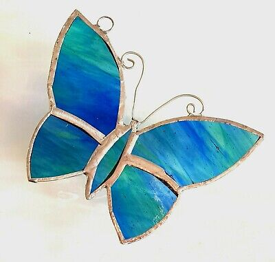 Blue Green Garden Butterfly Hanging Stained Glass Suncatcher Conservatory Gift • 10.99£