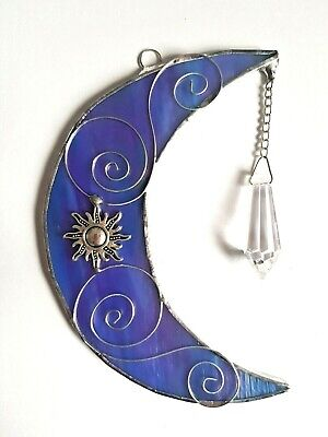 Blue Moon + Crystal Rainbow Maker Sun Stained Glass Suncatcher Window Hanging • 16.99£