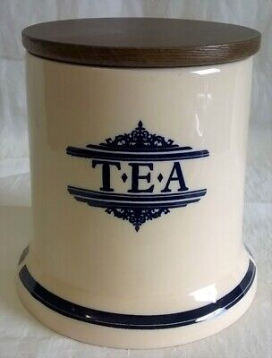 1869 Victorian Pottery Co Large Tea Caddy Storage Jar Blue & Cream Wooden Lid • 24.99£