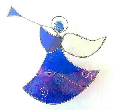 BLUE Angel Stained Glass Suncatcher Music Window Wall Hanging Gift Decor Xmas • 13.99£
