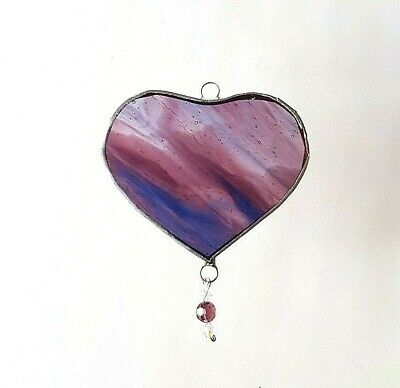 Blue Pink Love Heart Stained Glass Suncatcher Drop House Warming Gift • 8.50£