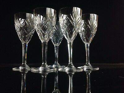 5 St Louis Crystal Chantilly Clear Claret Wine Glasses 6  • 125£