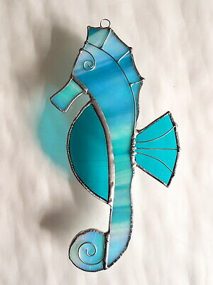 Turquoise Seahorse Stained Glass Suncatcher Window Hanging Wall Decor Sealife • 15.99£