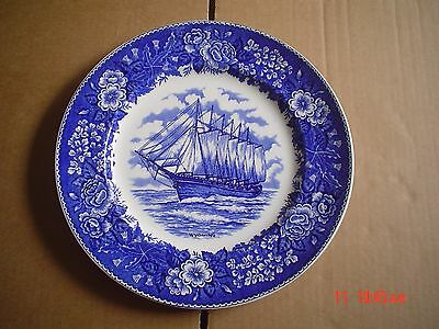 Adams Potteries England Blue And White 10 Inch Plate Ship WYOMING • 15.99£