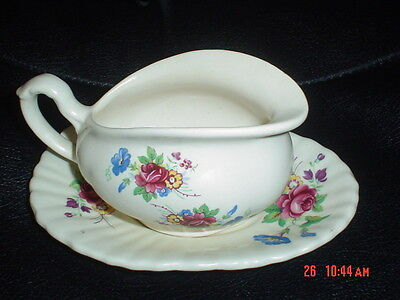Very Pretty Axe Vale Sauce Boat And Dish Flowers 1950's • 9.99£
