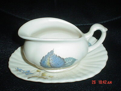 Very Pretty Axe Vale Sauce Boat Blue Leaves 1950's • 9.99£