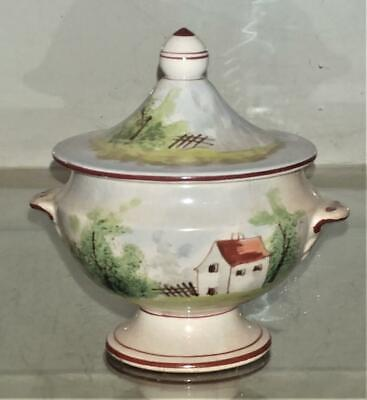 Sweet French Antique Faience Marseilles Style Hand Painted Mustard Pot • 21.99£
