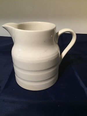 SMALL Vintage Old White Banded Kitchen Jug Shabby Chic  Country Lord Nelson  • 7.50£
