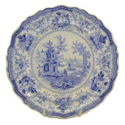 Antique Meir & Sons Fairy Villas Blue And White China Plate • 120£