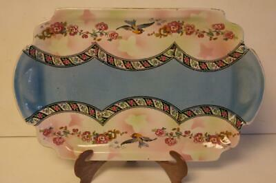 A Lovely Vintage Oblong Serving Plate With Handles,blue & Pink With Birds & Flow • 14.99£