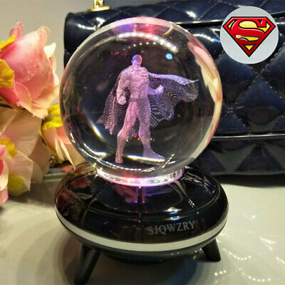 Super Hero Superman 3D LED Crystal Decor Night Light Table Lamp Gift 7 Color • 17.49£