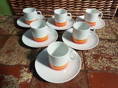 6 THOMAS GERMANY 70s RETRO ORANGE STRIPED CAROUSEL COFFEE CUPS& SAUCERS • 29.99£