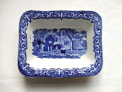 Vintage Blue & White Shredded Wheat Dish ~ Abbey Pattern By George Jones • 12£