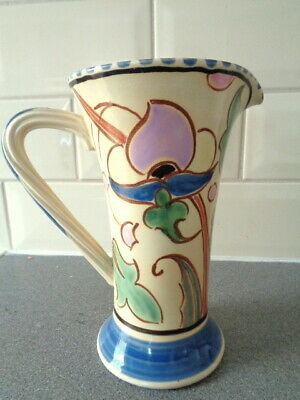 Vintage Large Honiton Pottery Waisted  Floral Jug Pitcher 8  Tall • 28£