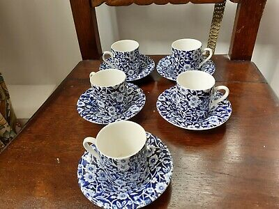 Espresso Style Blue And White Cup And Saucer, Calico By Burleigh X 5 • 30£