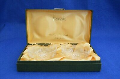 Vintage Harrods Boxed Hand Cut Crystal Bon Bon Dishes - English Cut Glass - • 29.99£
