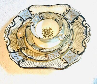 Hammersley Bone China Tea Cup And Saucer Set - Blue/Gold - 4 Piece/2 Plates • 65£