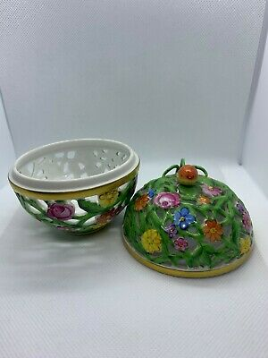 Herend Pierced Porcelain Potpourri Box And Cover Decorated With Flower • 50£
