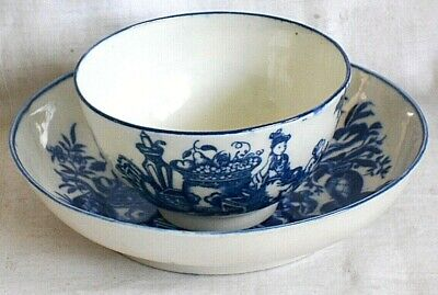 C18th Worcester Tea Bowl And Saucer Mother And Child Pattern • 47£