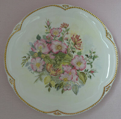 Decorative 8* Plate White Pastel With Pink Red Flowers Golden Rim Maker Unknown • 4£