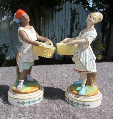 SUPERB PAIR ANTIQUE 19thC FRENCH PORCELAIN FIGURES / BLACKAMOOR FIGURINES • 23£