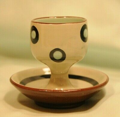 Babbacombe Pottery Pedalstal Eggcup Green With Polkadot Pattern Good Condition • 5£