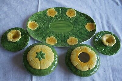 Wedgwood Art Deco  Green And Yellow  Sunflower Dressing Table Set + Candlesticks • 38.50£