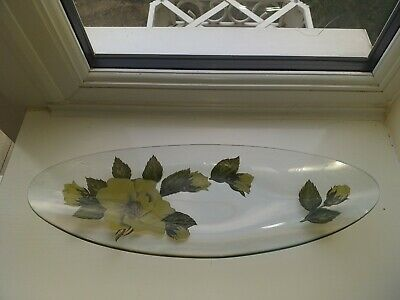 Lovely Vintage Chance Glass Yellow Flowers Oval Glass Dish/Tray • 0.99£