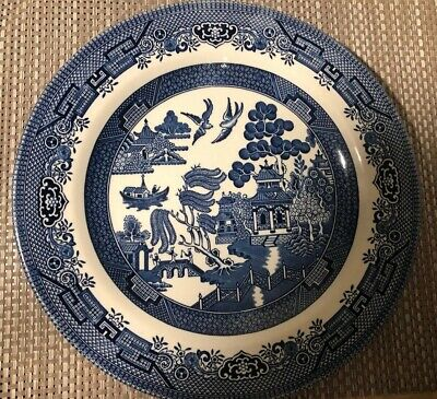 Churchill Blue And White Willow Pattern Plate • 4£